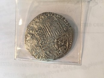Coin from the Spanish ship Atocha, sunk in 1622, personal collection. Photo: Kelly Dean